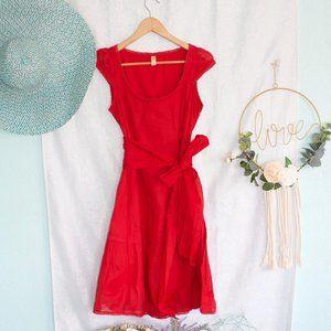 Anthropologie Maeve red short sleeve midi dress